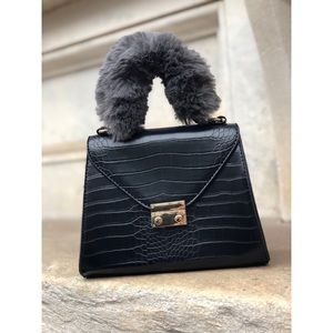 🆕Estella Black Vegan Faux Fur Top Handle Bag
